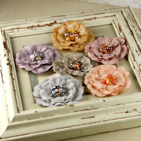 Ceylon - Attic fabric flowers with beaded and pearls on the center