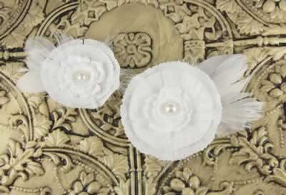 Magnolia Audrey white  Feather Fabric Flowers.