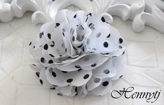 2 pcs- 3'' Satin mesh silk flowers flat back wedding bridal bridesmaid brooch flowers - White with black polka dots
