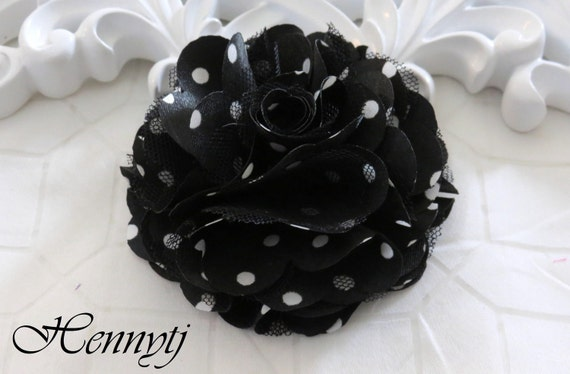 2 pcs- 3'' Satin mesh silk flowers flat back wedding bridal bridesmaid brooch flowers - Black with white polka dots