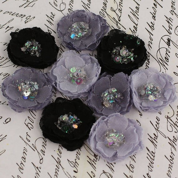 BRAND NEW - Tasha Midnight Black Grey Mini Fabric Flowers with sparkle sequins center