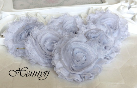 Set of 6 Shabby Frayed Vintage look Chiffon Rosette Flowers -  Silver Grey (Limited Quantity)