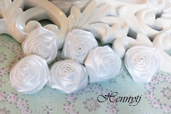 Set of 6 - 30mm Adorable PETITE Rolled Satin Rose Bud Satin Rosettes Fabric flowers - White