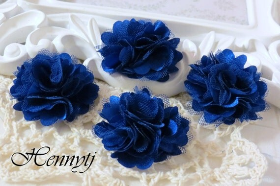 4 pcs - New Tiny Size Petite Satin and Tulle Puff Mesh Flowers without hair clip brooch flowers - ROYAL BLUE
