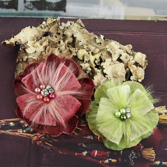 Cherise Collection - Grape Vine Burgundy Celery Green Feather Fabric Flowers jeweled centers. Christmas Holiday Flowers. Hair Accessories