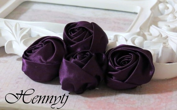 Set of 4 -  50mm Adorable Rolled Satin Rose Rosettes Fabric flowers - Dark PURPLE
