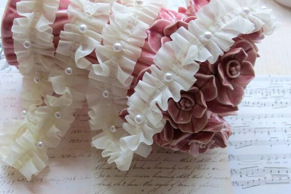 3 yards Ivory Cream Chiffon Fabric Embroidery Lace Trim  with Pearl beads bridal wedding bridesmaid headband skirt dress