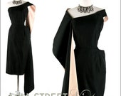 Vintage 1950s 50s Dress --- Black Cotton Faille Blush Satin Draped One Shoulder Cocktail Wiggle Bombshell M S