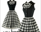 Vintage 1950s 50s Dress --- Black White Harlequin Plaid Diamond Chiffon Linen Party Cocktail Wedding Metal Zipper S M