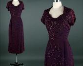 Vintage 1940s Dress . Purple Rayon . Glass Beads . L/XL . 1497