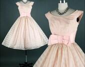 Vintage 1950s Dress . Ivory Chiffon . Pink Tulle . Full Skirt . XS/S . 1502