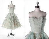 Vintage 1950s Dress . Powder Blue Tulle . Ivory Taffeta . Full Skirt . Strapless . Chevron . Shirred . XS/S . 1681