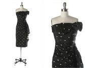Vintage 1950s Dress . Black Taffeta . Silver Metallic . Strapless . Bow . XS/S . 1541