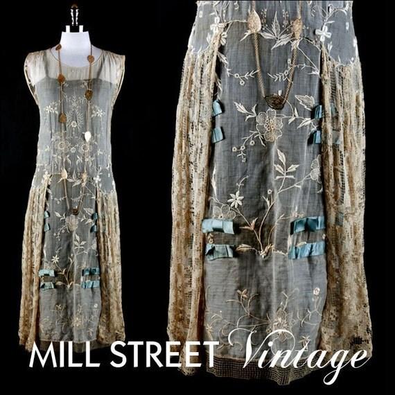 Vintage 1920s 20s Dress --- Taupe Embroidery Lace Blue Satin Flapper Wedding Party Cocktail Antique Textile S/M/L