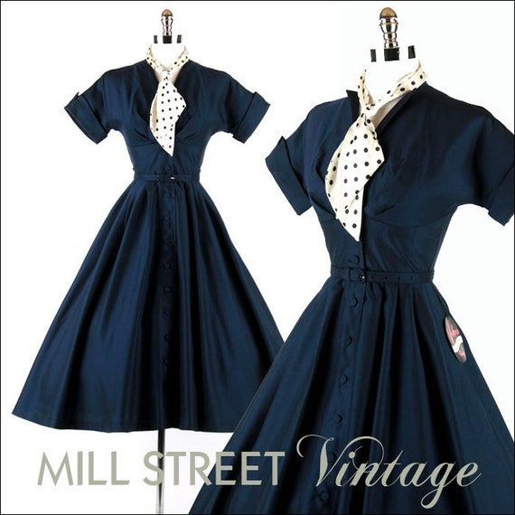 Vintage 1950s 50s Dress --- Blue Deadstock With Tags Polka Dot Scarf Belt Full Skirt Party Cocktail Lucy XS S