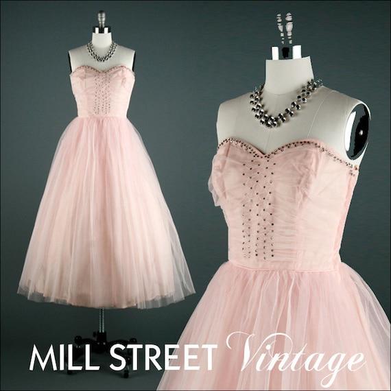 Vintage 1950s Dress . Pink Tulle . Rhinestones . Matching Shrug . 1183