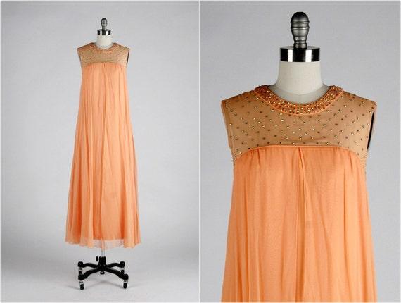 Vintage 1960s Dress . Orange Crepe Chiffon . Rhinestones . Maxi . Sheath . Illusion Bodice . Sleeveless . M/L . 1585