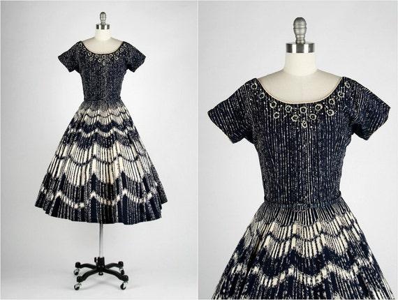 Vintage 1940s 1950s Dress . Blue White Cotton . Tulle . Belt . Full Skirt . Rhinestone . Beads . Flowers . M/L . 1423