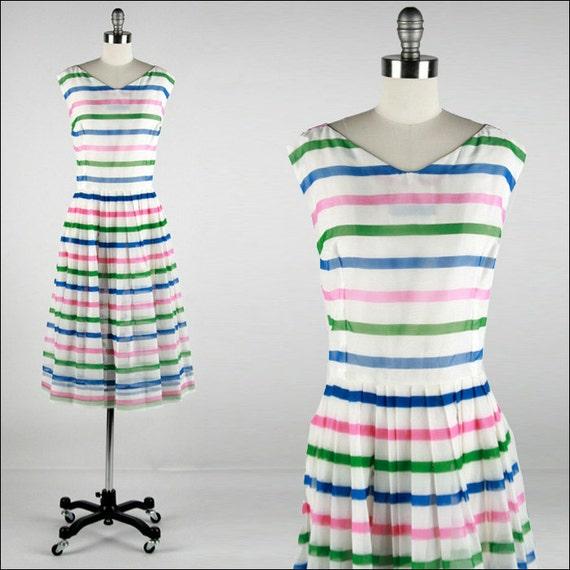 Vintage 1950s Dress . White Chiffon . Blue . Green . Pink . Striped . Sleeveless . Bows . L/XL . 1786