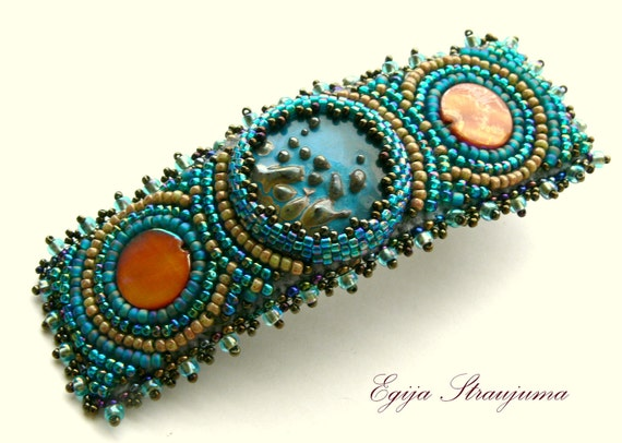 Hair Barrette Blue embridered for hair, Hair Pin  bead embrooidered. Ready to ship