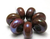 Glass Lampwork Beads Spacers Chocolate Brown Metallic Small Handmade Glass Beads