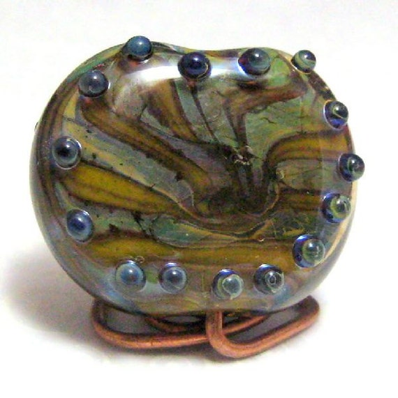 Glass Lampwork Focal Tab Bead Blue Green Ochre Yellow Handmade