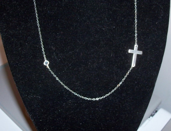 RESERVED Sterling Silver sideways cross necklace with Swarovski crystal New Style