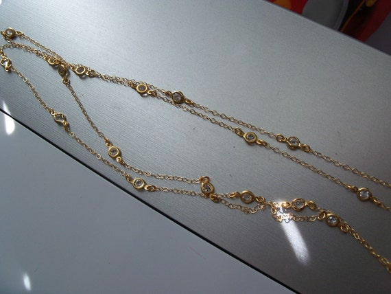 Tiffany inspired Diamonds by the yard - 44 inch long Swarovski crystal 14 gold filled necklace
