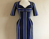 Size UK 8 (US 4-6) - Indigo Blue Striped Wiggle Dress - Made by Dig For Victory