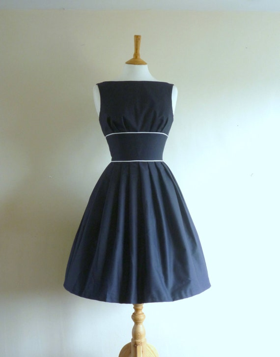 Navy Blue Cotton Tiffany Prom Dress - made to measure - by Dig For Victory