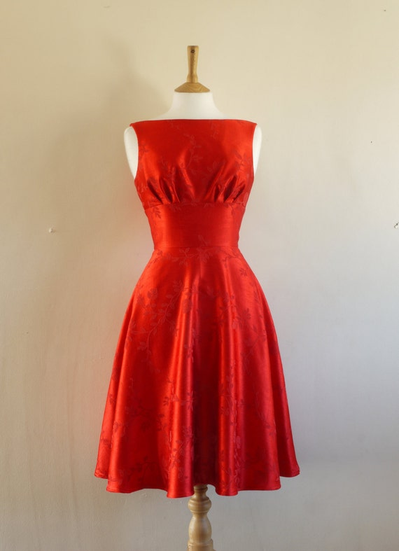 Reserved for Lauren - Scarlet Damask 'Lady in Red' Prom Dress - Made by Dig For Victory