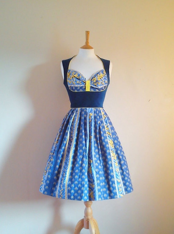 Size UK 14-16 (US 12) - Midnight Blue Vintage print Heidi Dress - made by Dig For Victory
