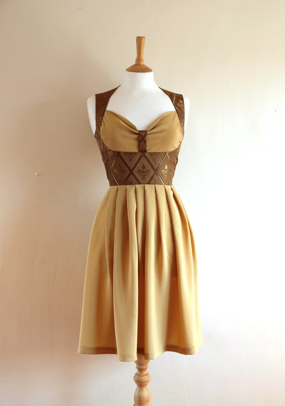 Walnut Brocade and Camel Crepe de Chine Bustier Dress - Made by Dig For Victory