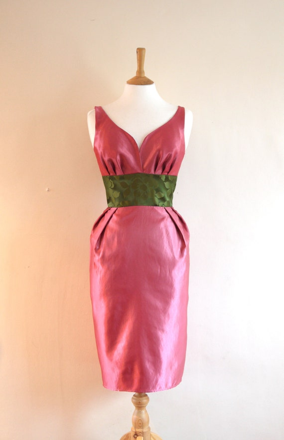Size UK 12 (US 8-10) - Olive Green & Rose Pink Satin Dupion Wiggle Dress - Made to Measure