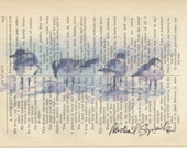 Sea Gulls in the Wind on Antique Poetry Page Signed & Free Shipping in the US