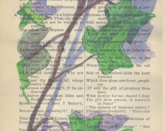 Watercolor Ivy Printed on Poetry Page Signed Print & Free Shipping in US