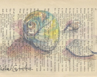 Watercolor Shells Print on Antique Page, Signed Print & Free Shipping in US