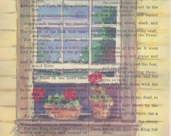 Watercolor Flowers Printed on Antique Book Page, Free Shipping in US