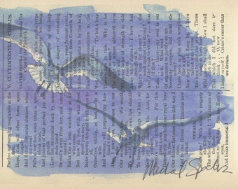 Watercolor Seagulls Printed on Antique Book Page, Free Shipping in US