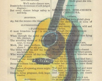 Watercolor Guitar, Printed on Antique book Page, Free Shipping in US