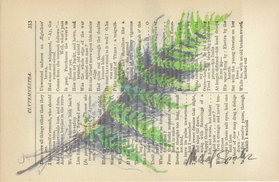 Botanical Art, Fern Watercolor Printed on Antique Book Page, Free shipping in US