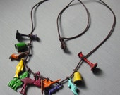 Vintage Colored Metal Charm Necklace