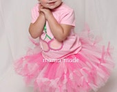 Hot Pink and White Petti-Tutu with matching hair accessory Size Newborn 3 mo 6 mo 9 mo 12 mo 18 mo 2t 3t 4t 5 6 8 10 12 14