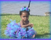 "Turquoise and Purple Petti-tutu 6"" long with matching hair accessory Size newborn 3 mo 6 mo 9 mo 12 mo 24 mo 2t 3t 4t 5 6 8 10 12 14"