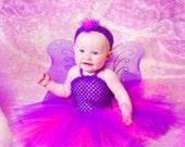 Purple and Fuchsia Tutu Dress with matching hair accessory Size Newborn 3 mo 6 mo 9 mo 12 mo 18 mo 24 mo 2t 3t 4t 5 6