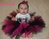 Fuchsia and Black Tutu with matching hair accessory size newborn 3 mo 6 mo 9 mo 12 mo 18 mo 2t 3t 4t 5 6 8 10 12 14