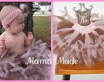 Pink and Brown  Petti-Tutu with matching hair accessory,pink and brown tutu,brown and pink tutu,girls tutu, flower girl tutu,birthday tutu,