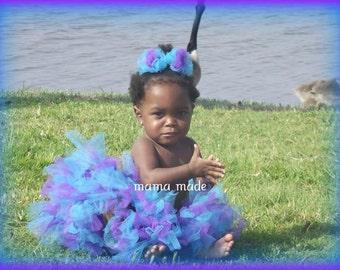 Turquoise and Purple Petti-tutu   with matching hair accessory,turquoise and purple tutu,blue and purple tutu, girls tutu, flower girl tutu