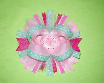 Pink, Fuchsia and Mint Green Cupcake Bow Cupcake Birthday Bow Pink and MInt Green Birthday Hairbow Cupcake Boutique Bow Pink and Mint Bow