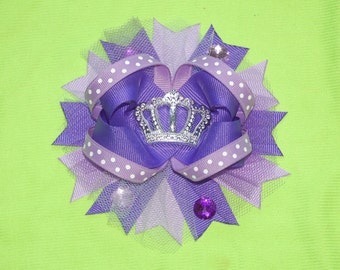 Purple Crown Bow Purple Princess Bow Purple Boutique Bow Princess Hairbow Purple Princess Crown Hair Bow Silver Crown Bow Princess bow Crown